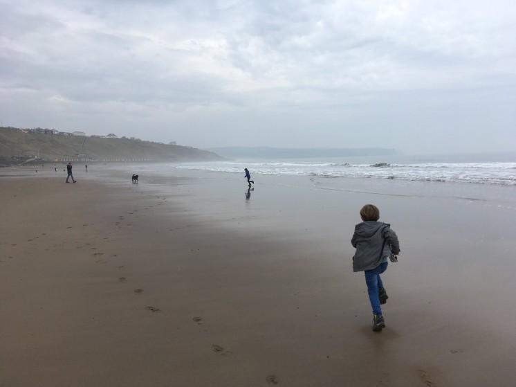running free along Whitby Beach
