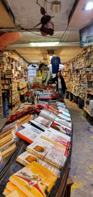 Venice's famous Acqua Alta bookshop which stores books in unusual containers, like this gondola!